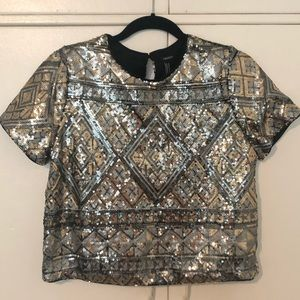 Geometric Metallic Sequined Crop Top